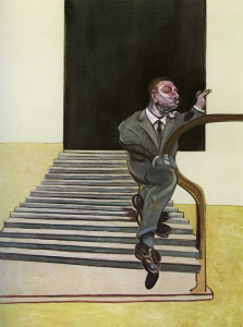 man walking down stairs
